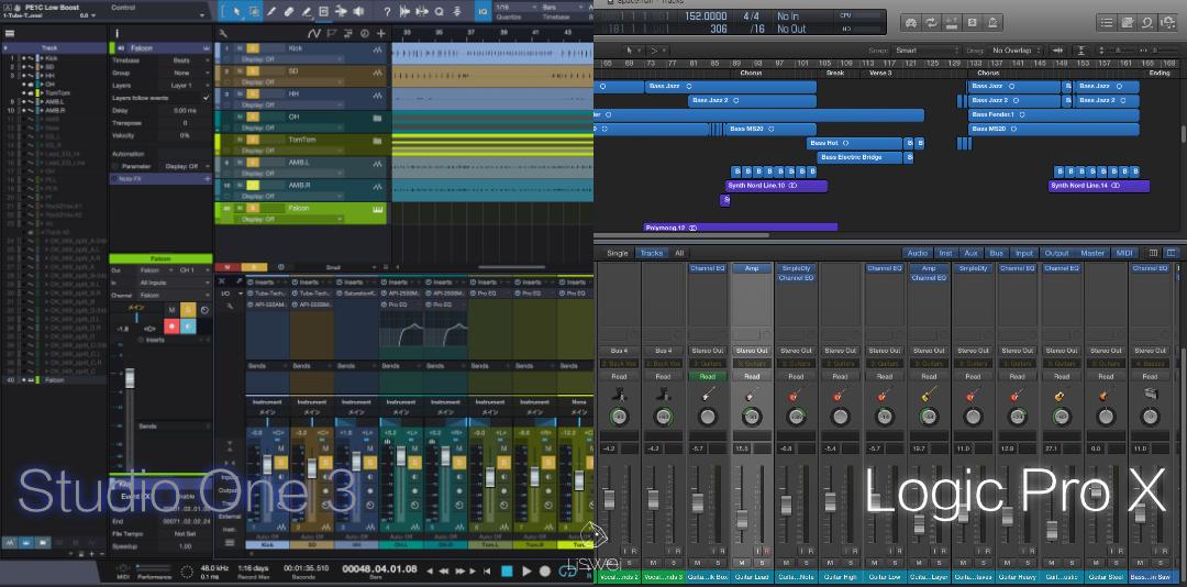 上圖為 Logic Pro 與 Studio One 的主要編曲視窗截圖。