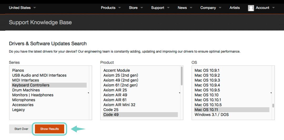 到 M Audio 的官方網站點選 support >> drivers 進入下載頁面。然後根據你所使用的作業系統來選擇相對應的驅動程式。