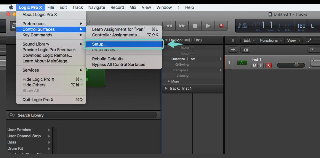 點擊 Logic Pro 頂部的選單進入 Control Surfaces >> Setup..