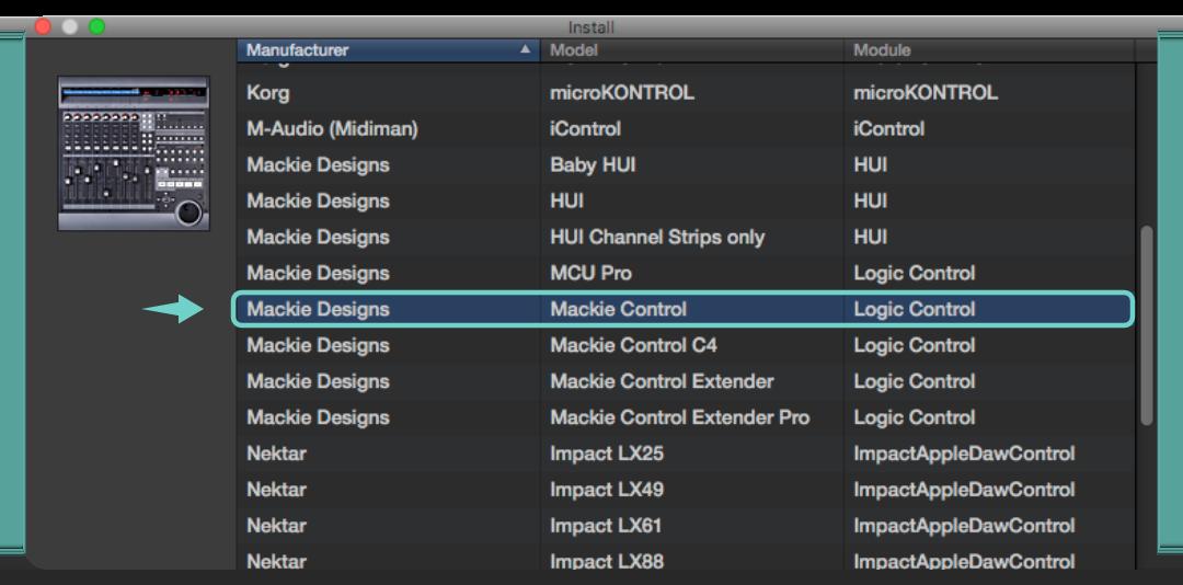 選擇新增 Mackie Designs | Mackie Control 後按下 Add 按鈕新增控制界面設定。