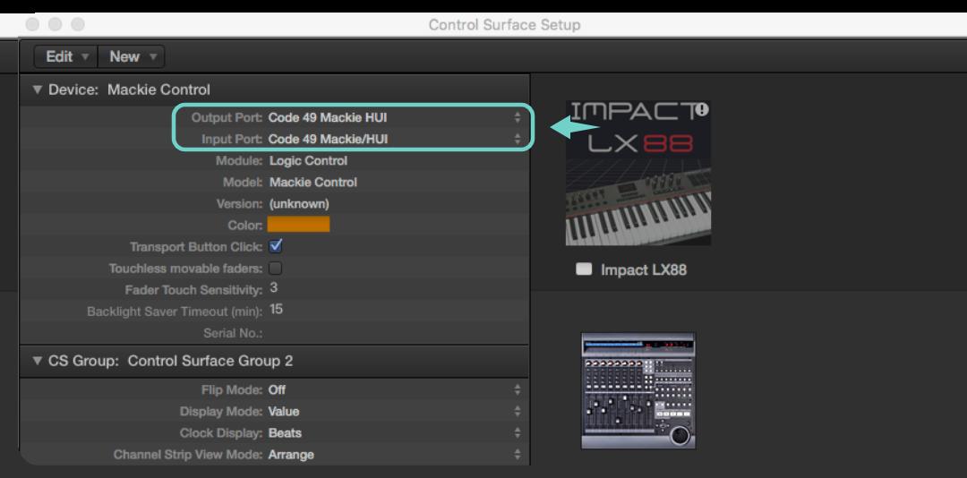 接著請將 Output 和 Input 的下拉選單都設定成 Mackie HUI 設定。