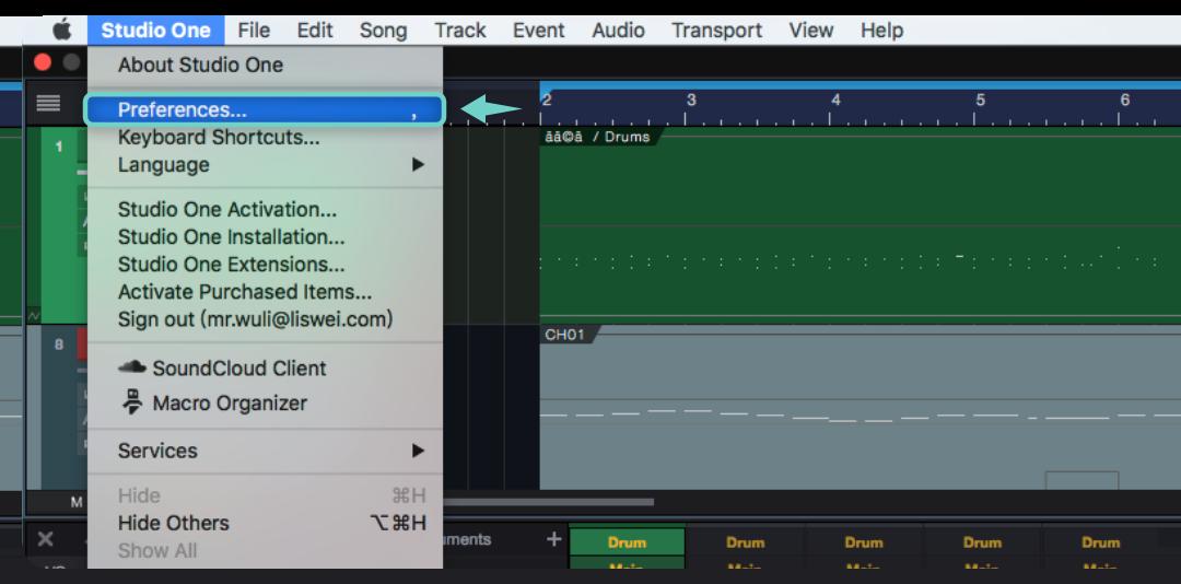 打開 Studio One 以後,請點擊 Studio One 的上方選單中的 Studio One >> Preferences 設定視窗。(因為我是 Mac 作業系統的關係,所以可能跟 Windows 作業系統的畫面會有點不同..)