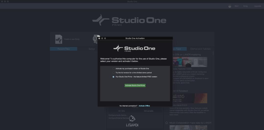 """開啟 Studio One 後選擇 """"Run Studio One Prime"""" 啟動免費版本(可無限期使用)"""