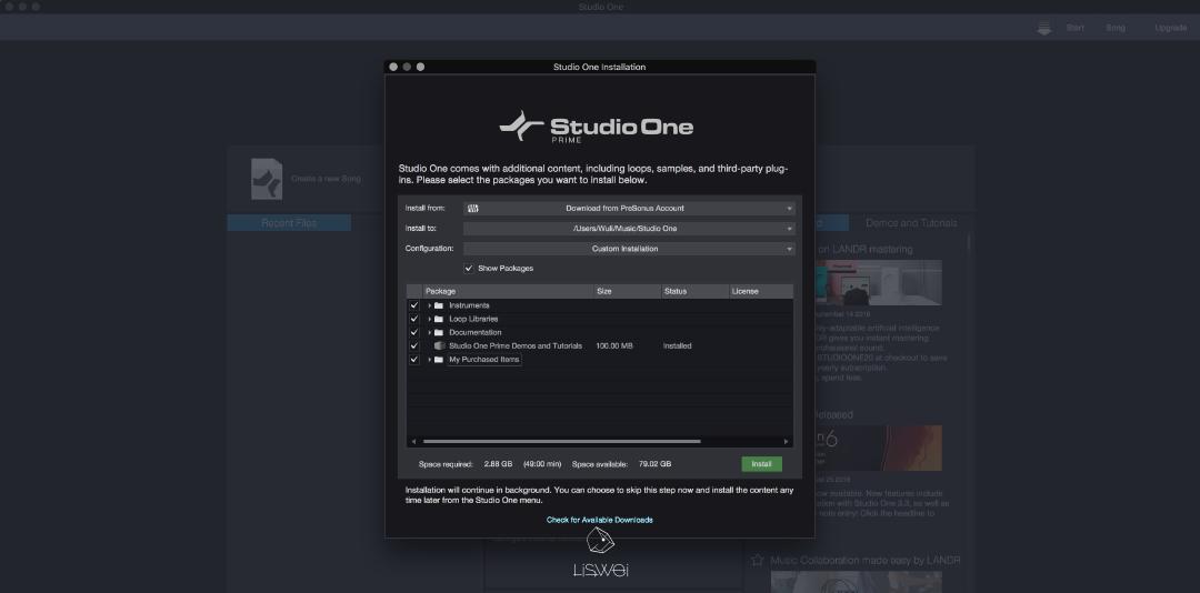 點擊頂端選單中的 Studio One > Studio One Installation ,勾選可下載的虛擬音源 & Loop 循環音檔下載安裝。