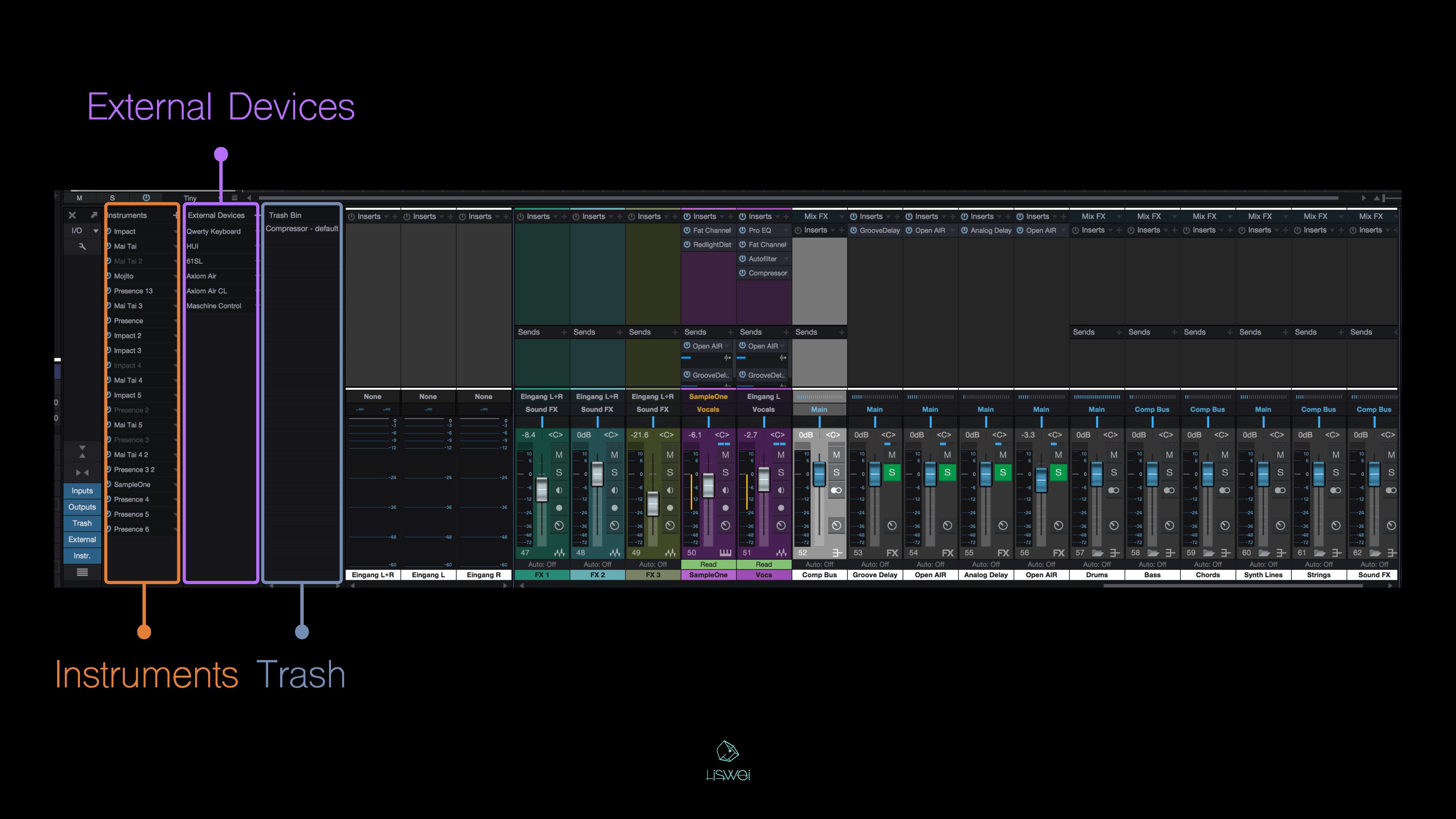 """比較特別的是在 Studio One 這套軟體中,刪除的 Effect Plugin 並不會直接消失,而是會跑到 """"垃圾桶"""" … 如果你後悔的話,還可以把它拖移出來,或是拖到你想安插的音軌上。"""