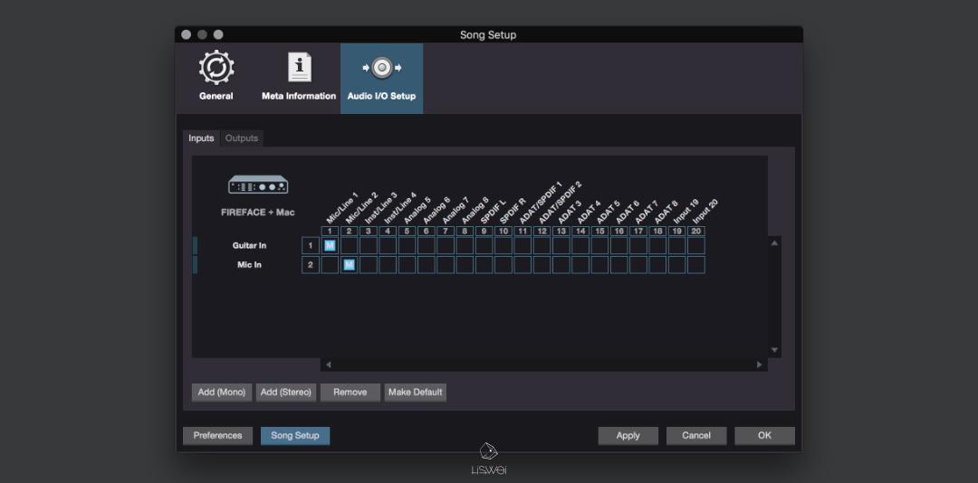 在 Studio One 的 Audio I/O 設定中,我們可自行定義軟體的輸入與輸出通道。