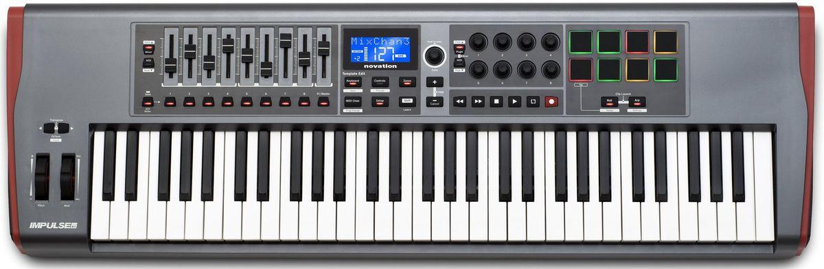 但如果你想要一台可以雙手演奏的鍵盤,可以考慮 61 鍵的 MIDI 控制鍵盤,基本上都可以應付一般流行歌伴奏需求;如果你桌子夠大的話,可以擺在桌上當作混音時的 MIDI控制器 使用。( 圖:novation impulse 61 )