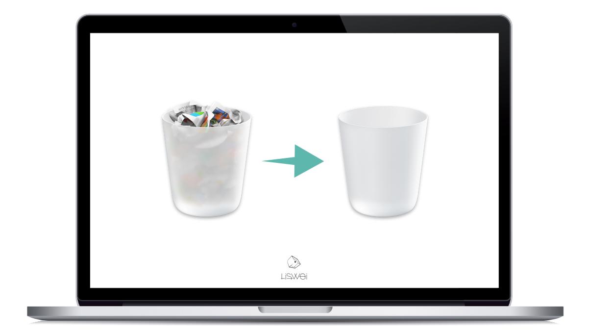 請記得將 MacBook Pro 內的垃圾桶清空