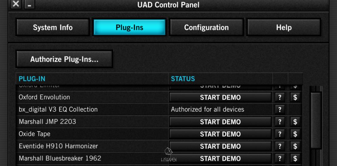 在 UAD Meter 中你可以觀看 目前所可以使用的 Plug-ins 狀態,或是開啟想要試用的 Plugins DEMO。