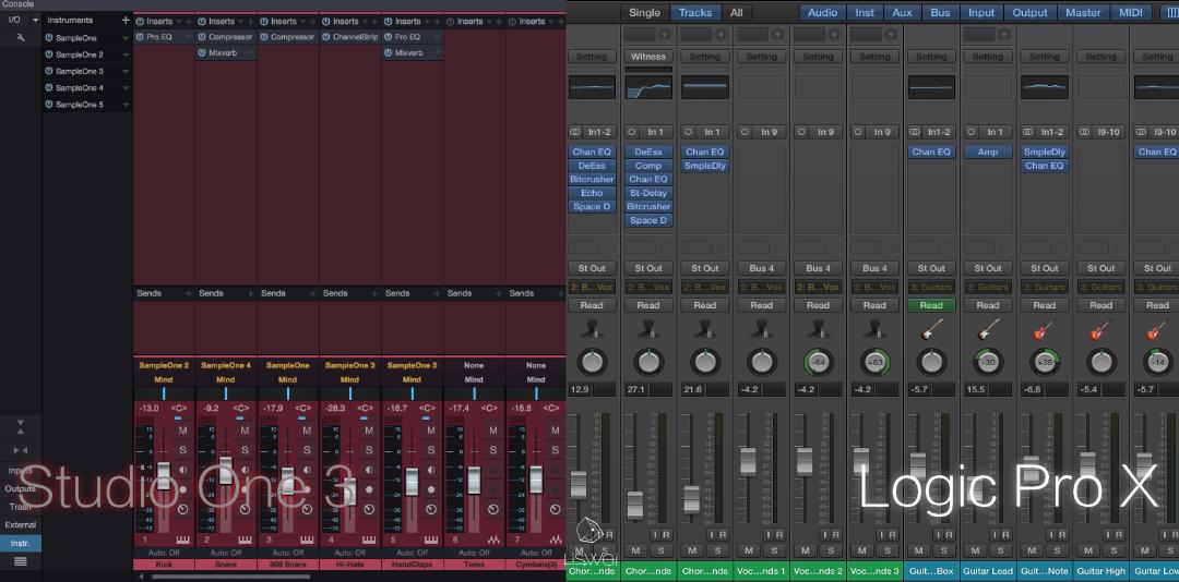 在上圖為 Studio One 與 Logic Pro 的混音視窗截圖。
