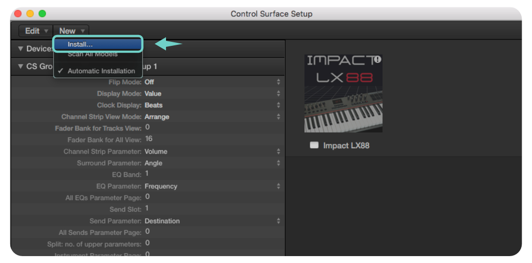進入 Control Surface 視窗後,請點擊視窗上方的 New >> Install..