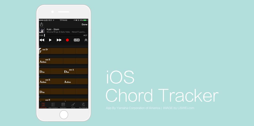 Chord Tracker 抓取完和弦進行後的手機螢幕畫面。