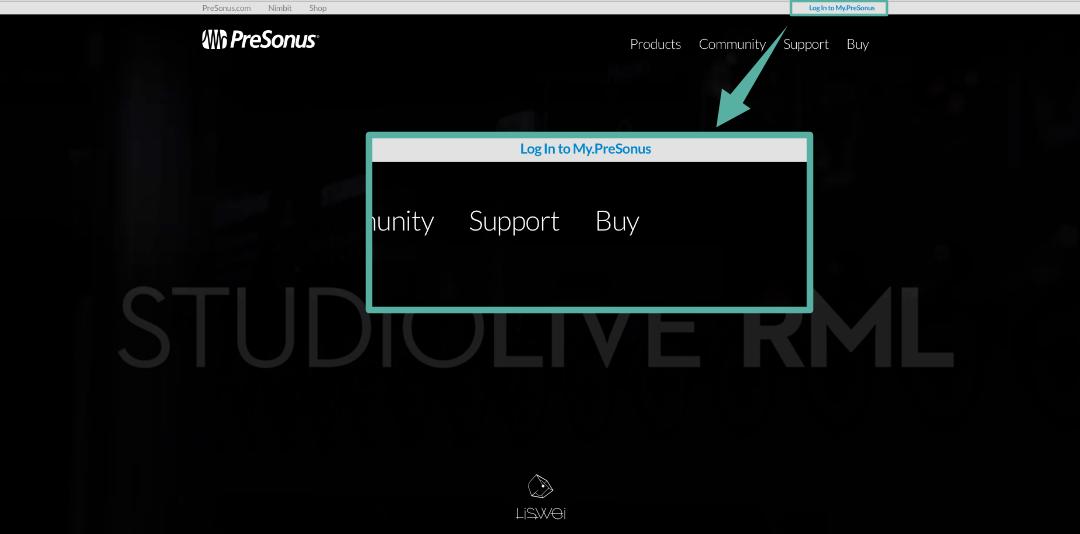 進入官網以後可以在右上角看到一個 Log In to My PreSonus 的藍色連結,點擊以後即可以註冊專屬的 PreSonus 帳戶。