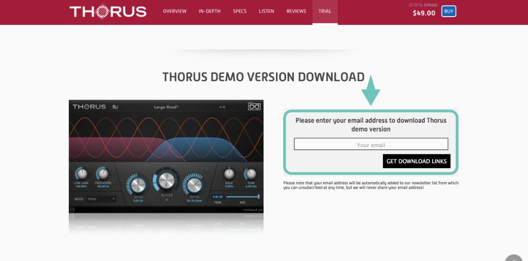 首先你必須先在 THORUS 頁面(http://www.uvi.net/en/software/thorus.html)輸入你的電子信箱,這樣才會收到官方寄送過來的插件(Plugin)下載連結。