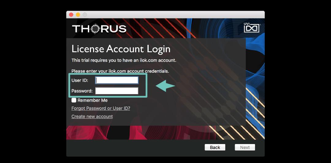 不管你使用的是 Studio One 還是 Logic Pro ( GrageBand ) 在開始使用 THORUS 前都必須輸入你的 iLok 帳號與密碼。