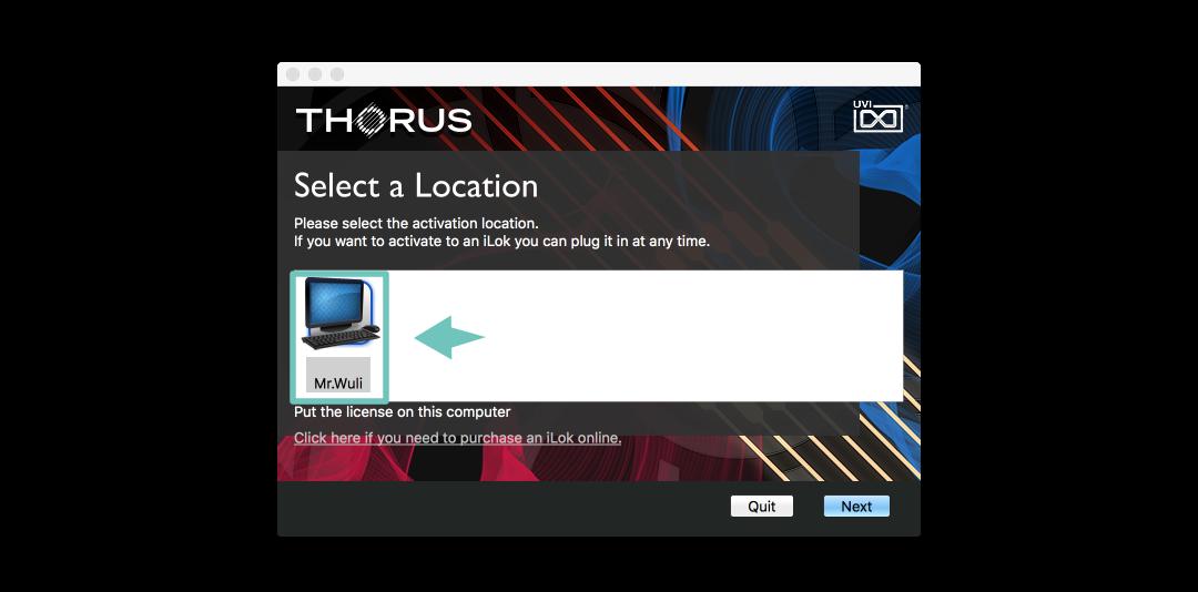 UVI 的插件不需要實體的 iLok ,可以直接將授權放在電腦上。所以在這裡只要選擇你的電腦,按 [Next] 即可。