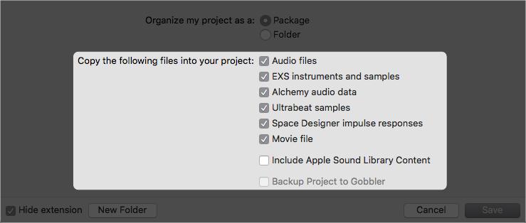 在儲存前請勾選想要複製到 Project 中的相關素材檔案。相關素材的部分有:音頻檔案、影像檔案、以及 EXS24 以及 Ultrabeat 的取樣音頻 與 Space Designer 的 Reverb 所需的 Impulse response File。