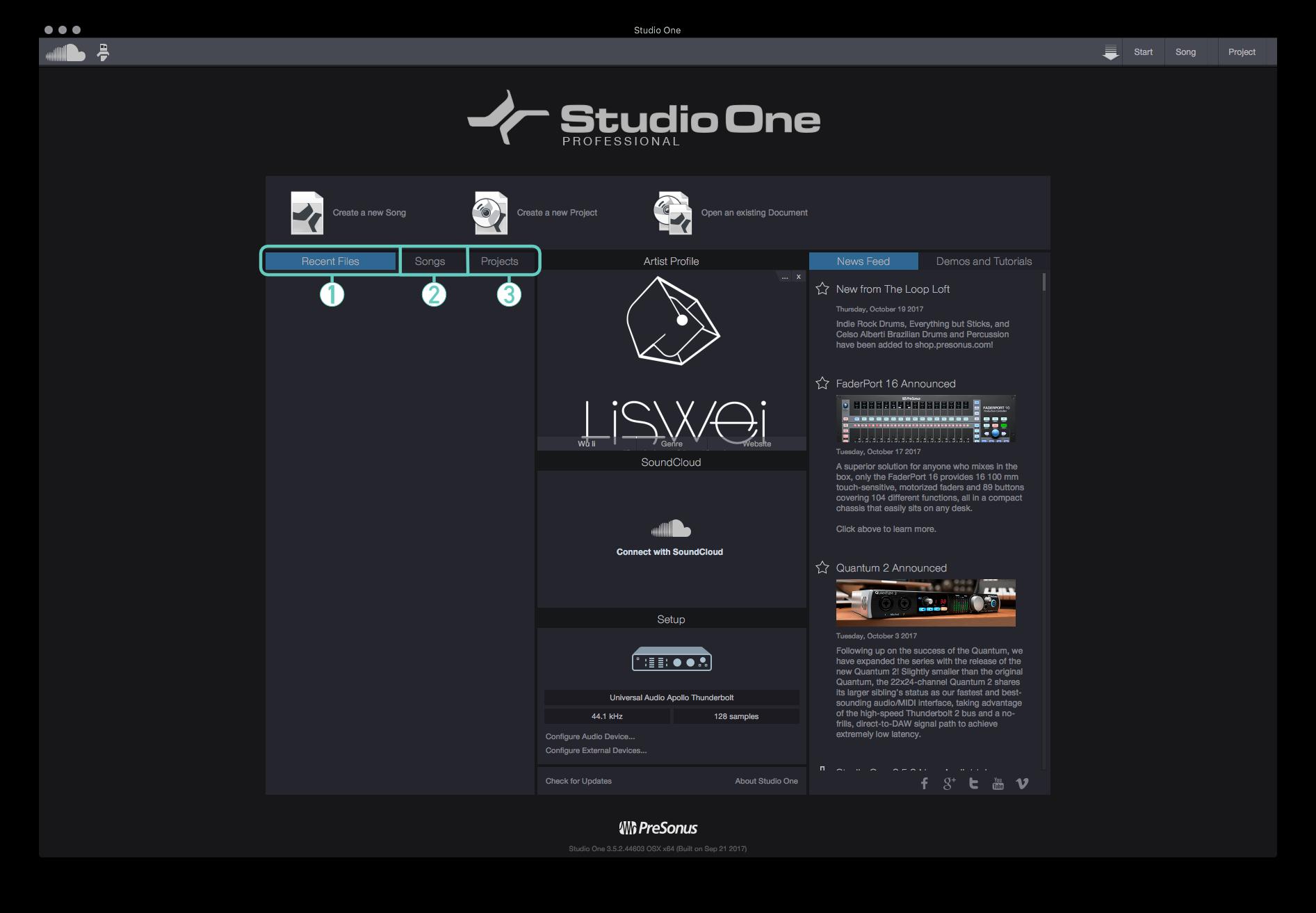 在預設的狀態下會 Studio One 會開起 Start 這個畫面。在該畫面的左邊分成三個頁籤區域,分別是 Recent Files、Songs、Projects。