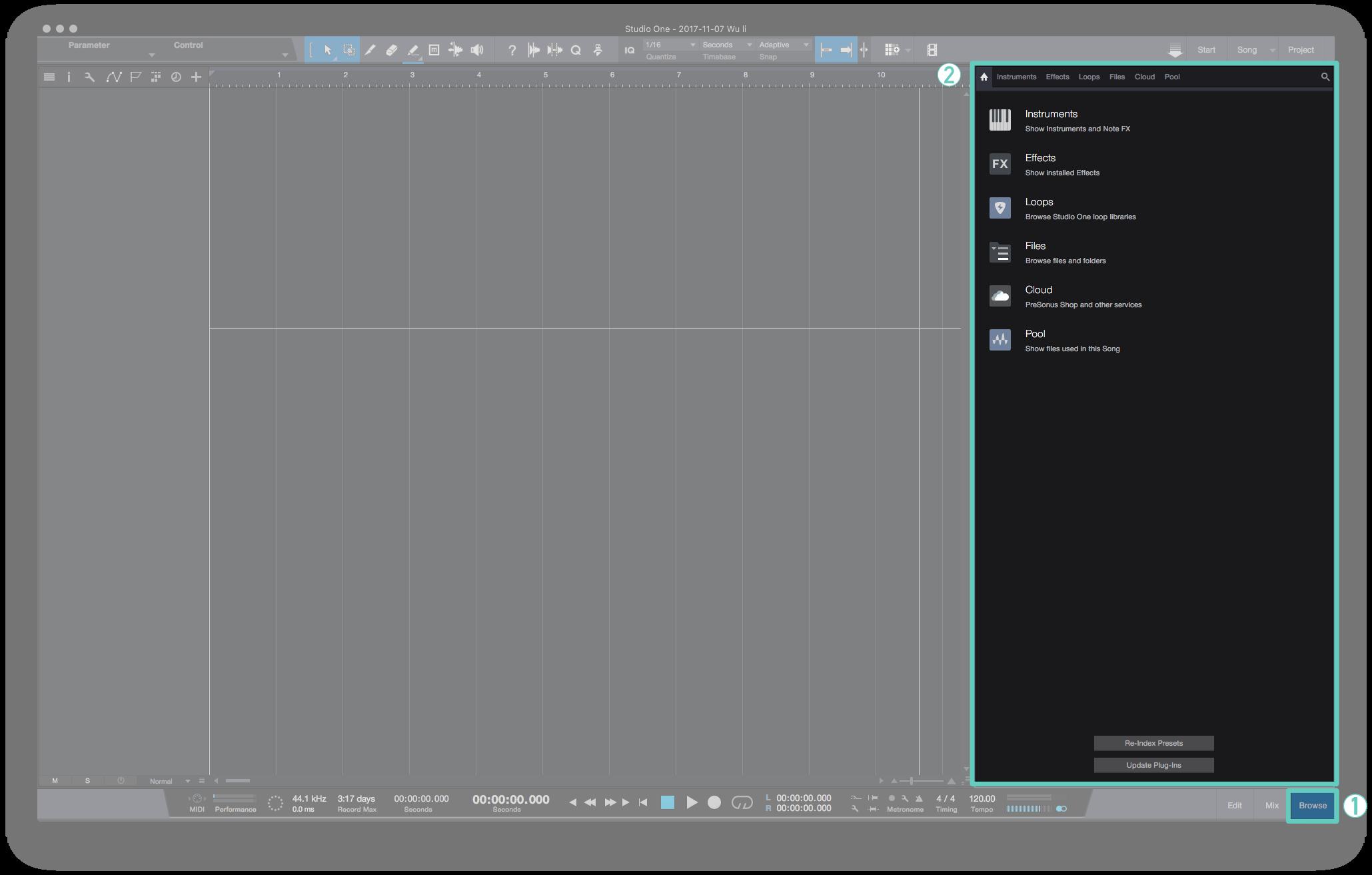 在 Studio One 的 Browse 的首頁中你可以看到 Instrument 與 Effect 、Loop ...等等的選項。