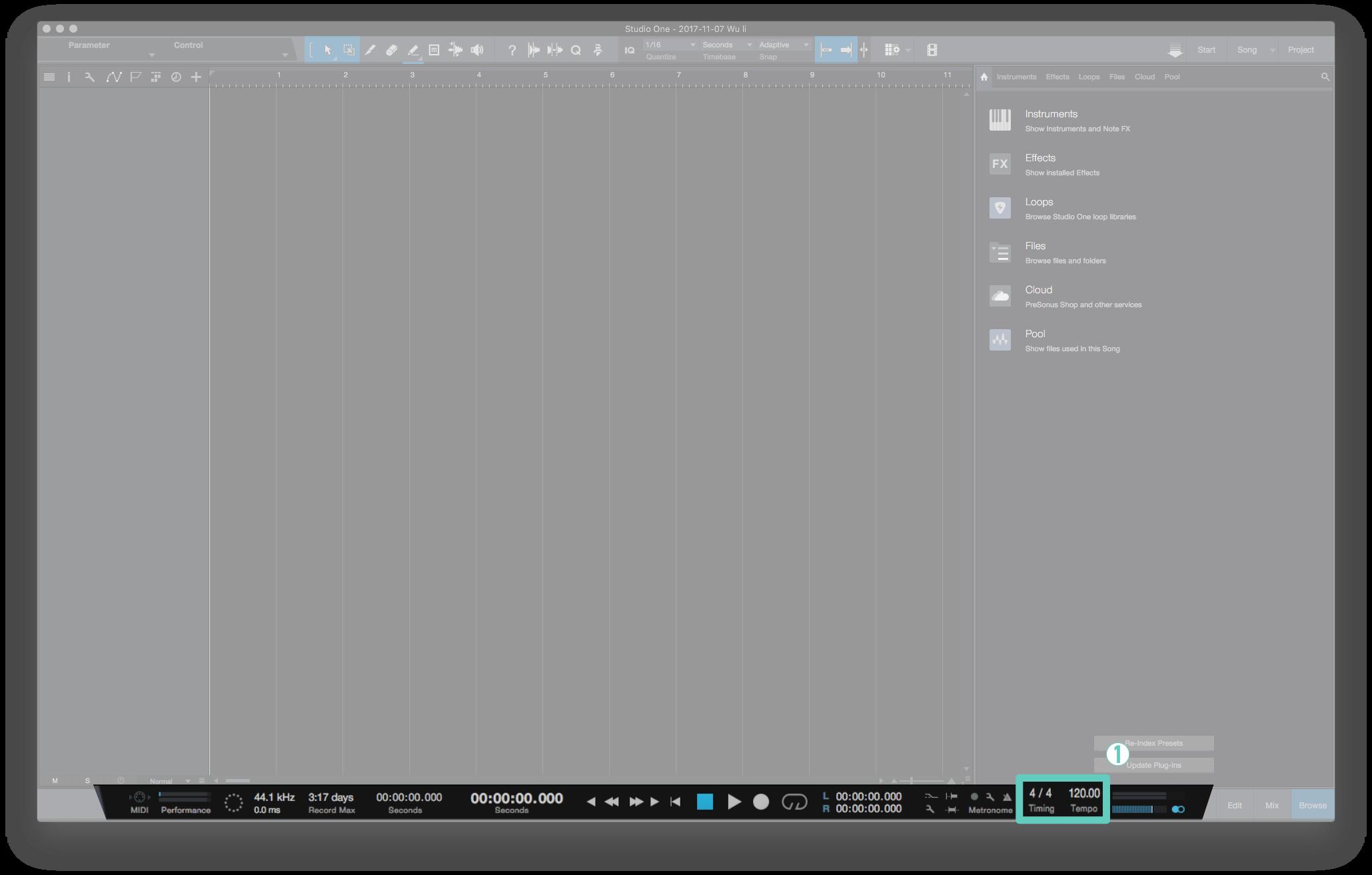 在 Studio One 的編曲視窗右下方,你可以看到當前 Song 的歌曲速度與拍號;同時也能用點擊以及左鍵拖移的方式去更改。