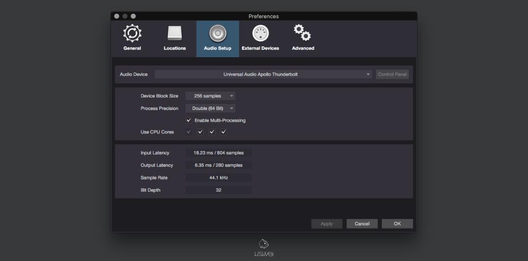 Windows 作業系統請點擊:[Studio One]>[ Option ]>[ Audio Setup ]進入設定視窗;Mac OS X:[Studio One]>[ Preferences ]>[ Audio Setup ]