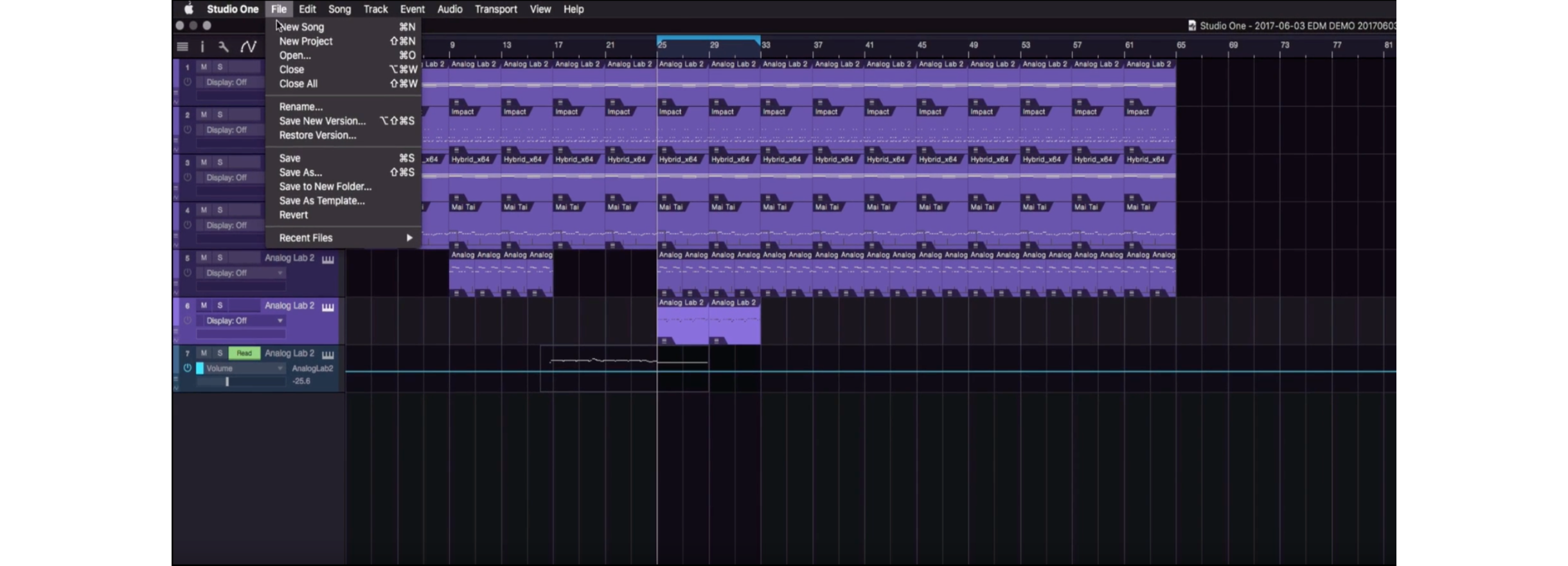 在 Studio One 中最簡單的儲存方式就是按快捷鍵 Mac:command + S :/ Win:control + S