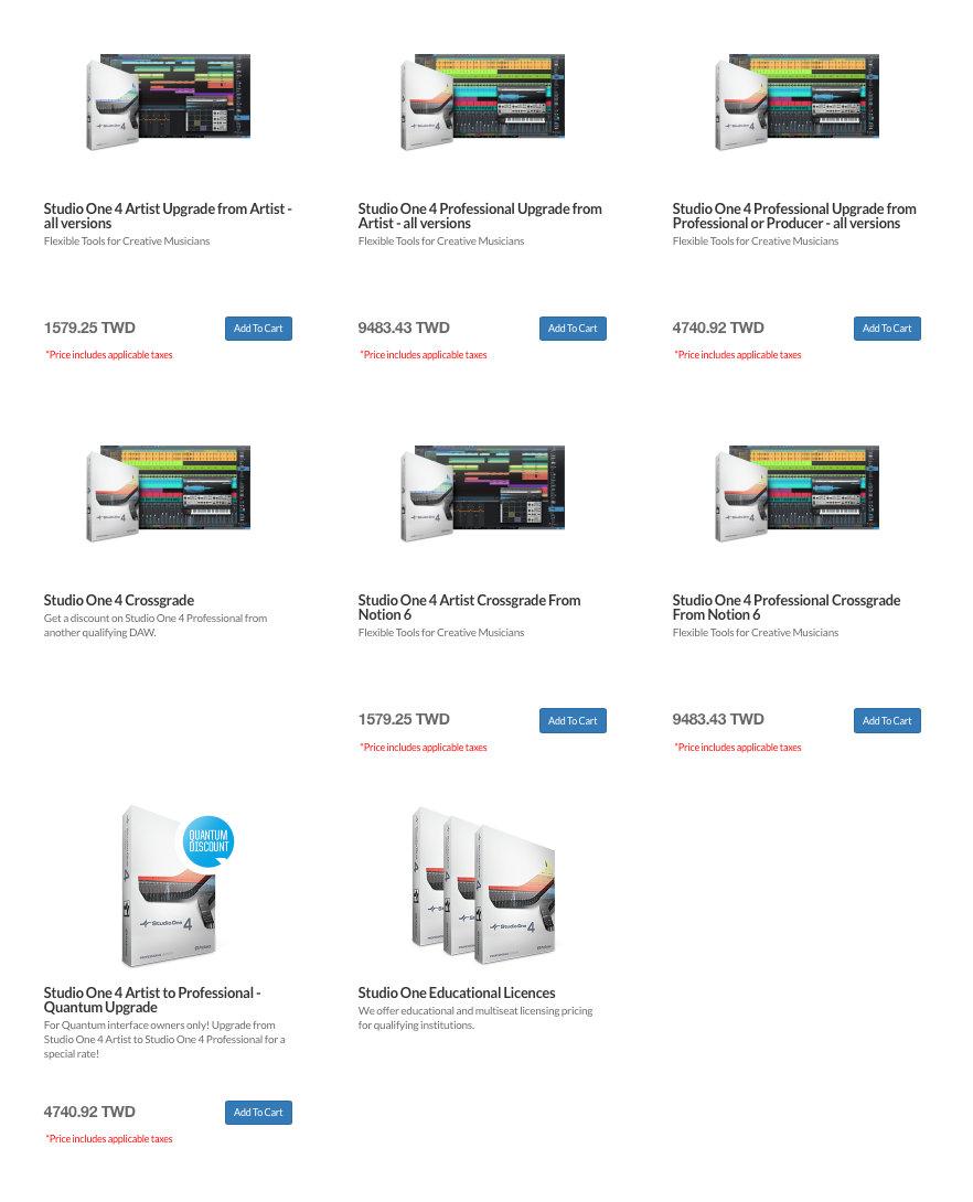 在 PreSonus 的官網可以使用 刷卡的方式購買、升級 Studio One 各種版本;但如果您目前沒有信用卡的話,也歡迎來信詢問代購方案^^