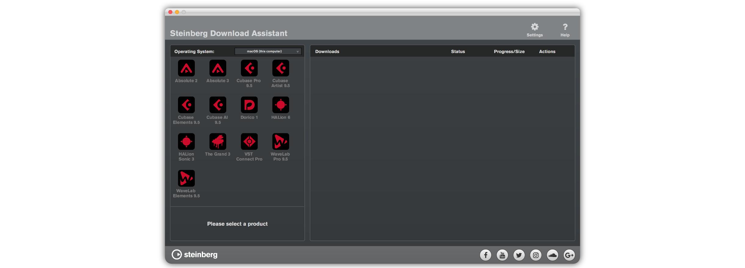 安裝完下載完的軟體後會進入一個這樣的介面 (Steinberg Download Assistant ),在此可以選擇你需要下載的軟體。