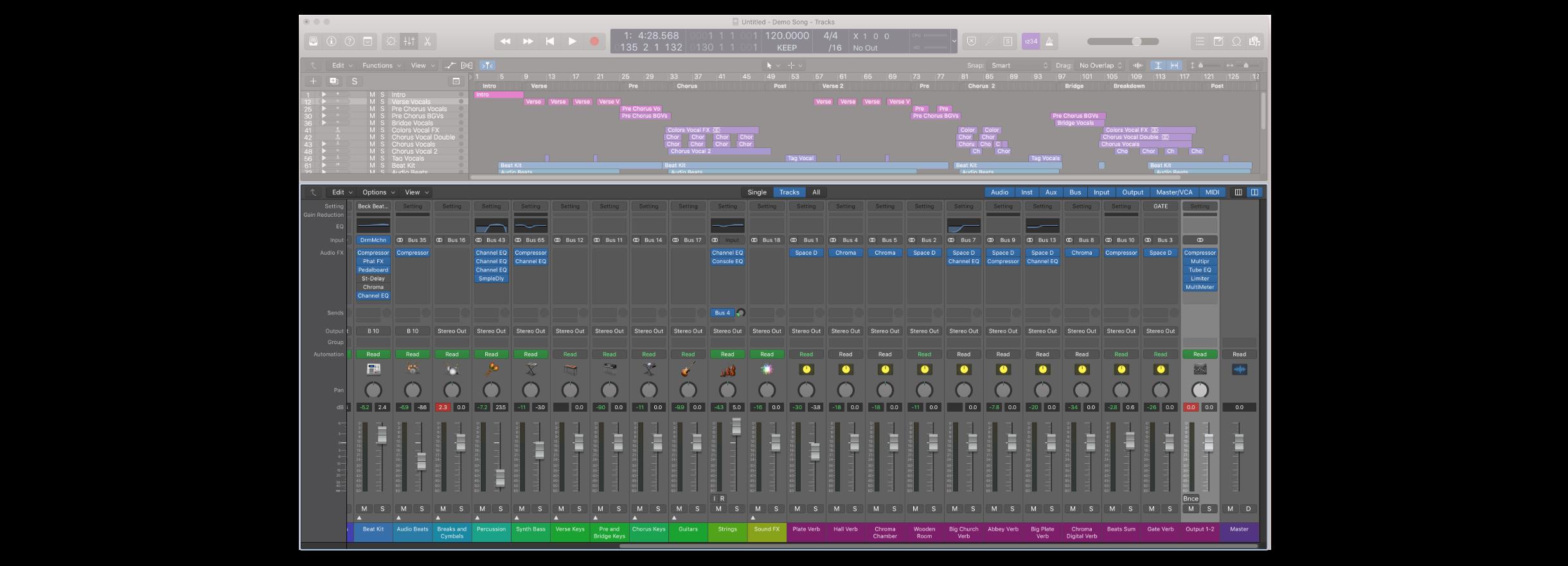 Mixer 視窗在開啟後會顯示在 Logic Pro 的下方,開啟的快捷鍵是 X
