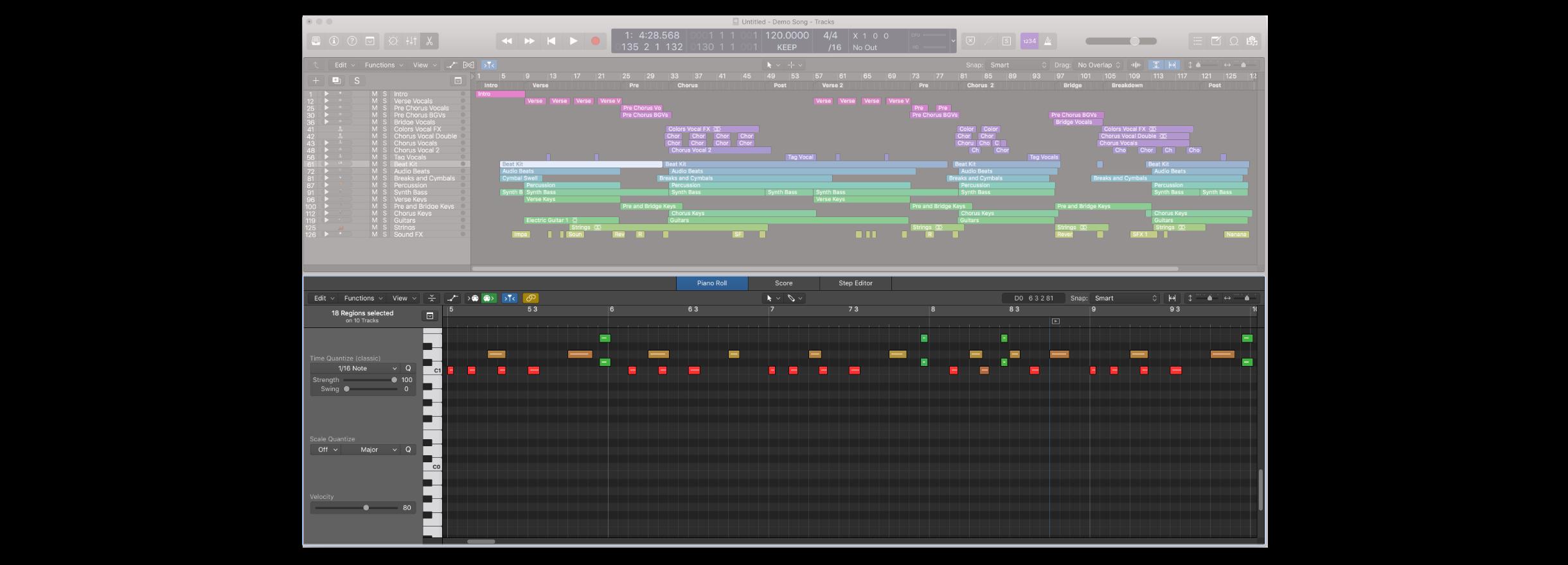軟體樂器的 Editor 區域會顯示鋼琴捲軸視窗,開啟的快捷鍵是 P or E
