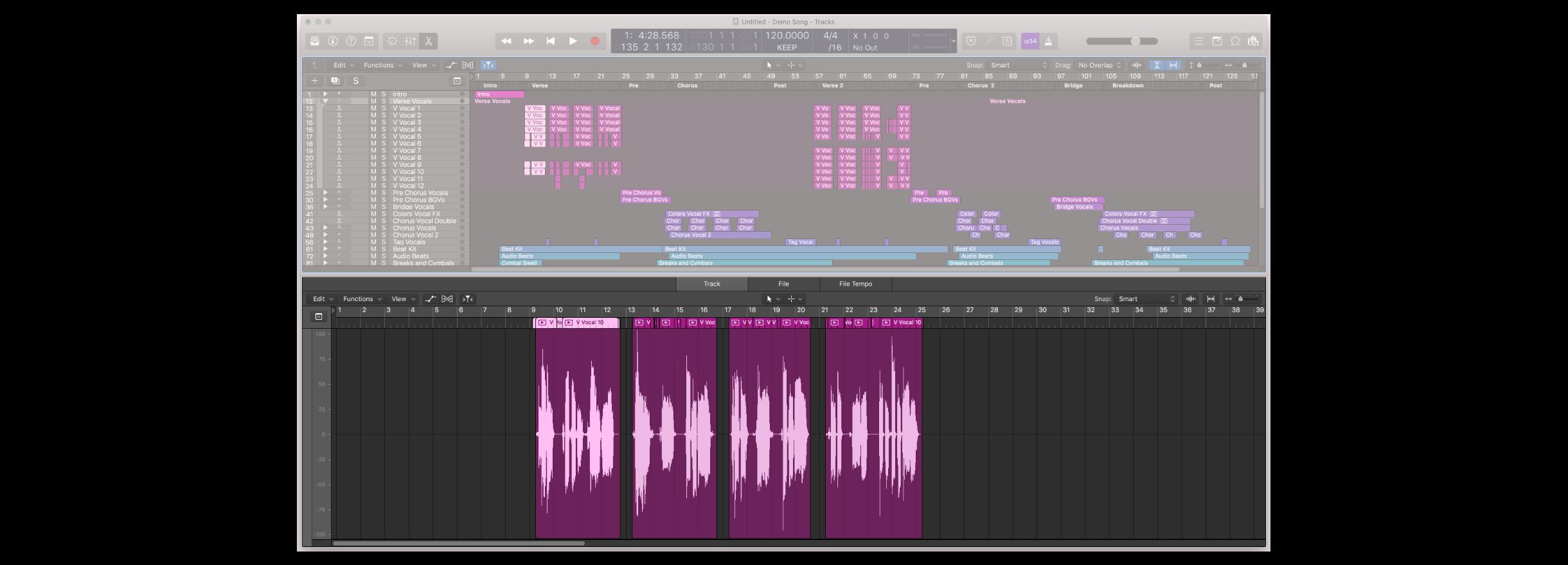 音頻片段的編輯視窗開啟後可以檢視波形,開啟顯示的快捷鍵是 E