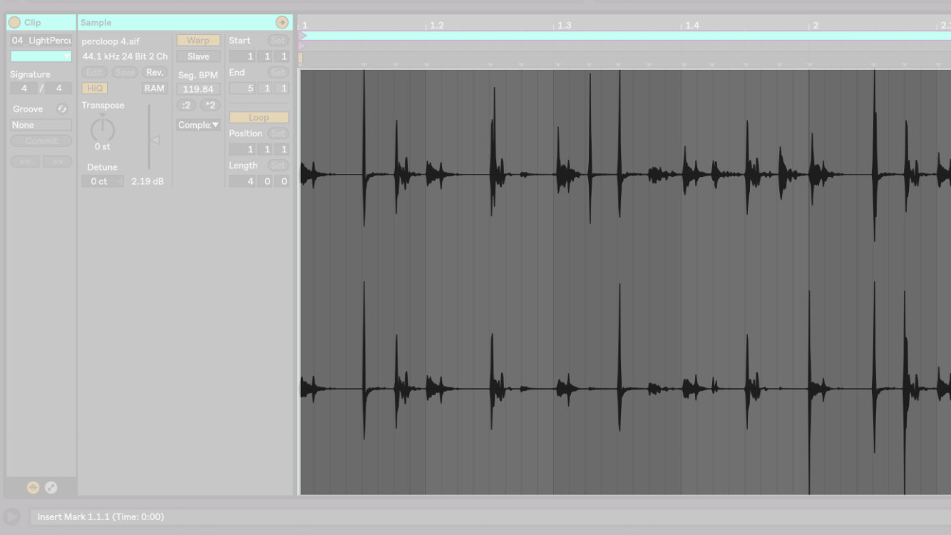 在 Ableton Live 10 編輯視窗中的 Audio Track 檔案畫面。