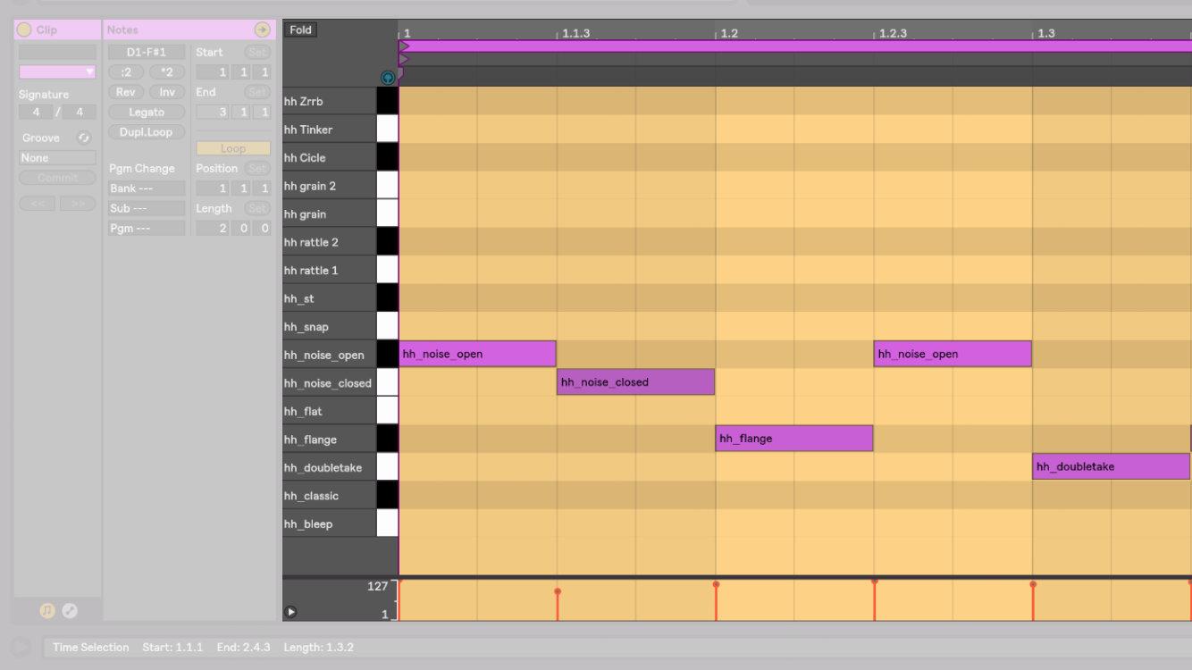 在 Ableton Live 10 中的 MIDI 編輯畫面。用戶可以透過滑鼠或是鍵盤來變更輸入的旋律音高、以及和弦的組成。