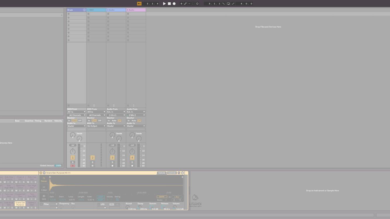 在 Ableton Live 10 中 Transport control 位於軟體操作介面設計的正上方。已精簡的設計呈現;還記得第一次打開的時候,為了找個節拍器找了快半個小時...