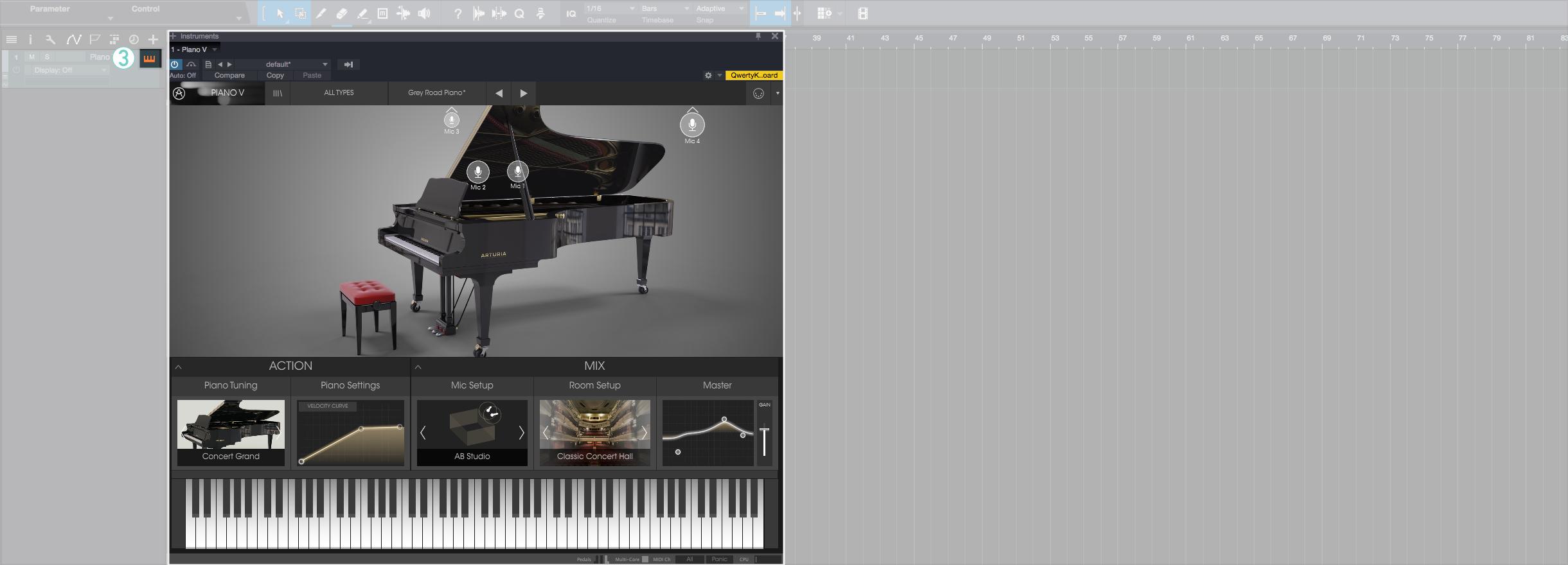 掛載後如果想要開啟軟體樂器編輯視窗,可以點擊 Track 右方的鋼琴圖示,即可開啟掛載的軟體樂器。