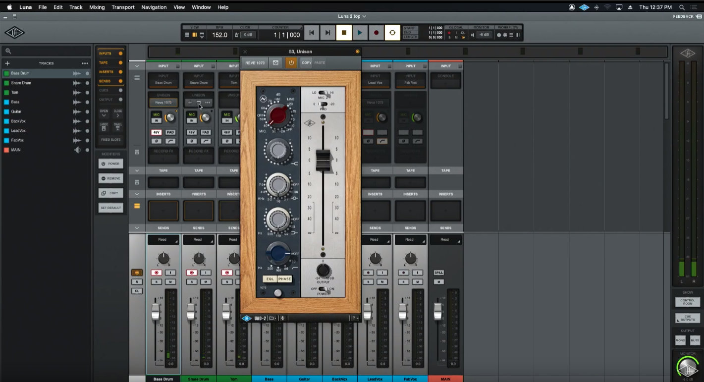 在混音視窗中,所有的 Track 都非常具有類比錄音控台的風格。
