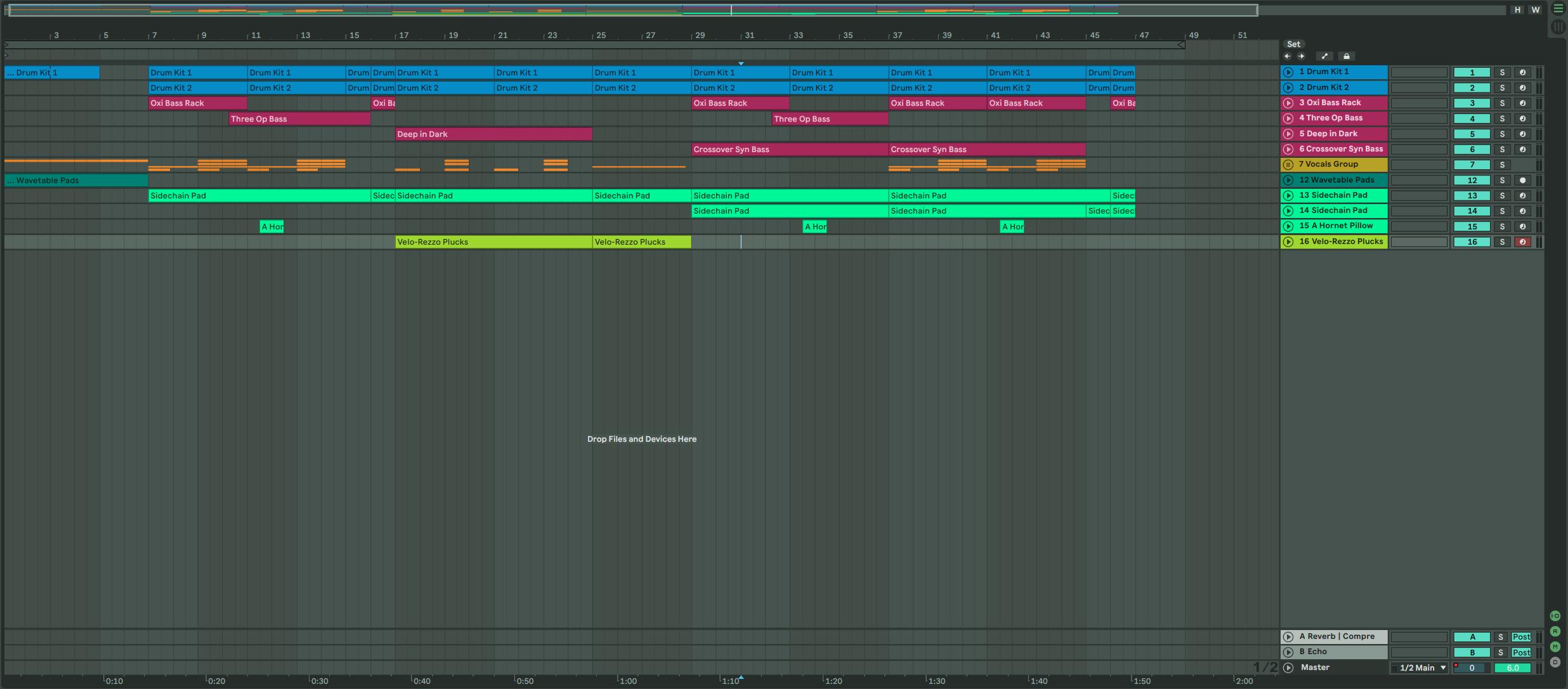 Ableton Live 的 Arrangement View 可方便記錄所有 Clip 的播放順序,並以 Time Line 的方式由左至右呈現。
