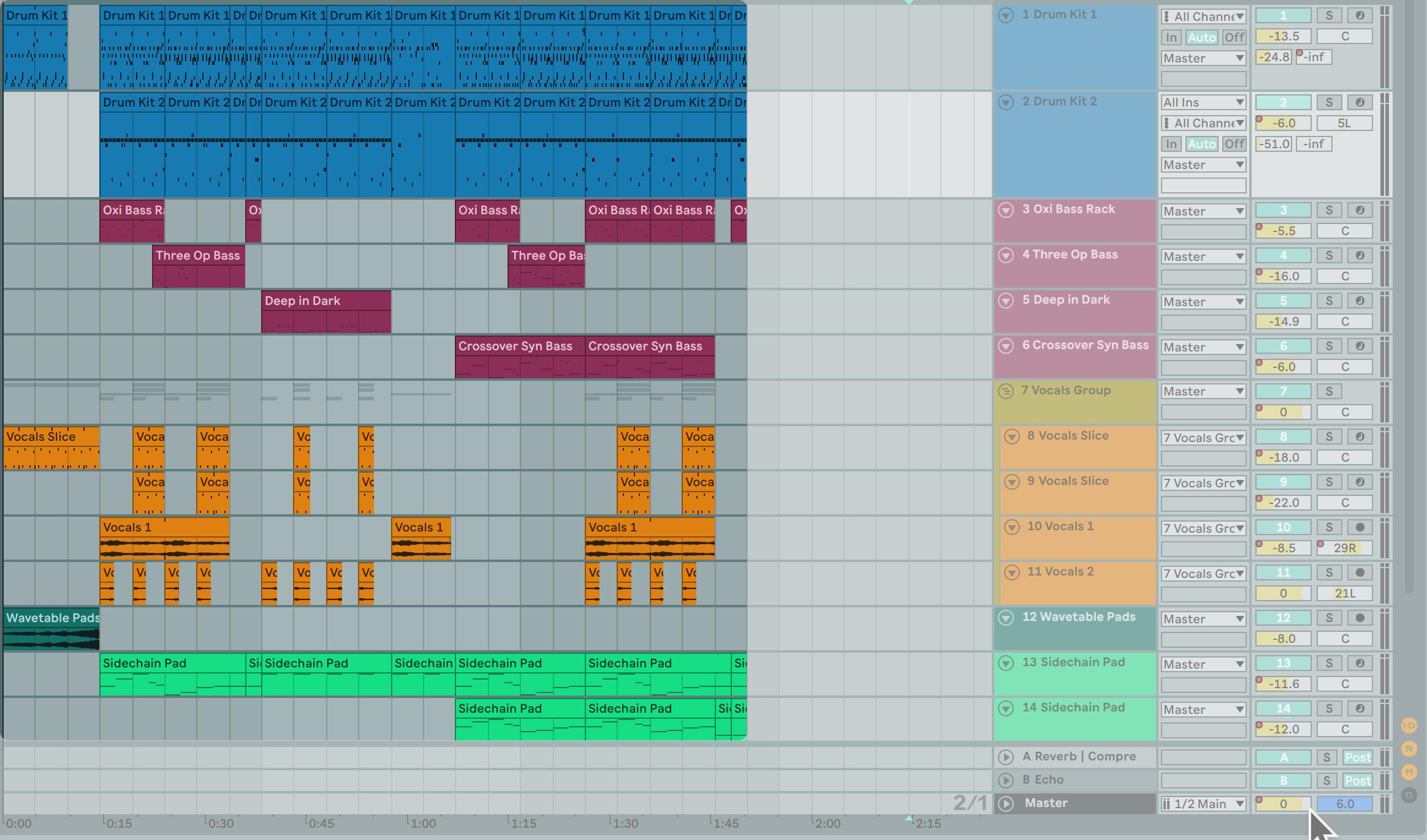 在 Arrangement View 中,所有的 Clips 會在每一個軌道中由左至右排列(並可標示顏色方便辨識)。