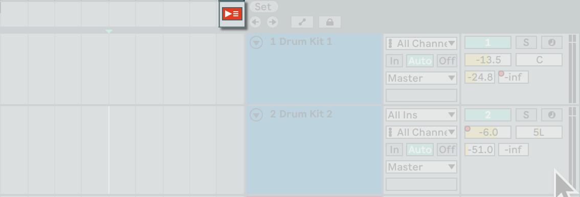 在 Arrangement View 的左上方有一顆返回 Arrangement 播放模式的按鈕(Back to Arrangement)。可切換當前播放內容的模式。