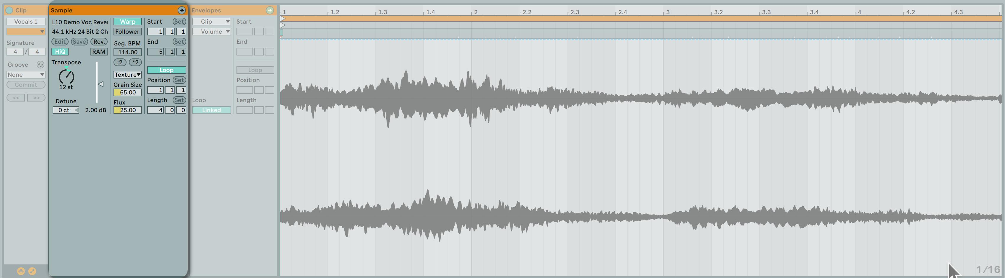 在 Clip View 中的 Sample Option 區域中有許多參數可以針對右側的音檔進行修正。