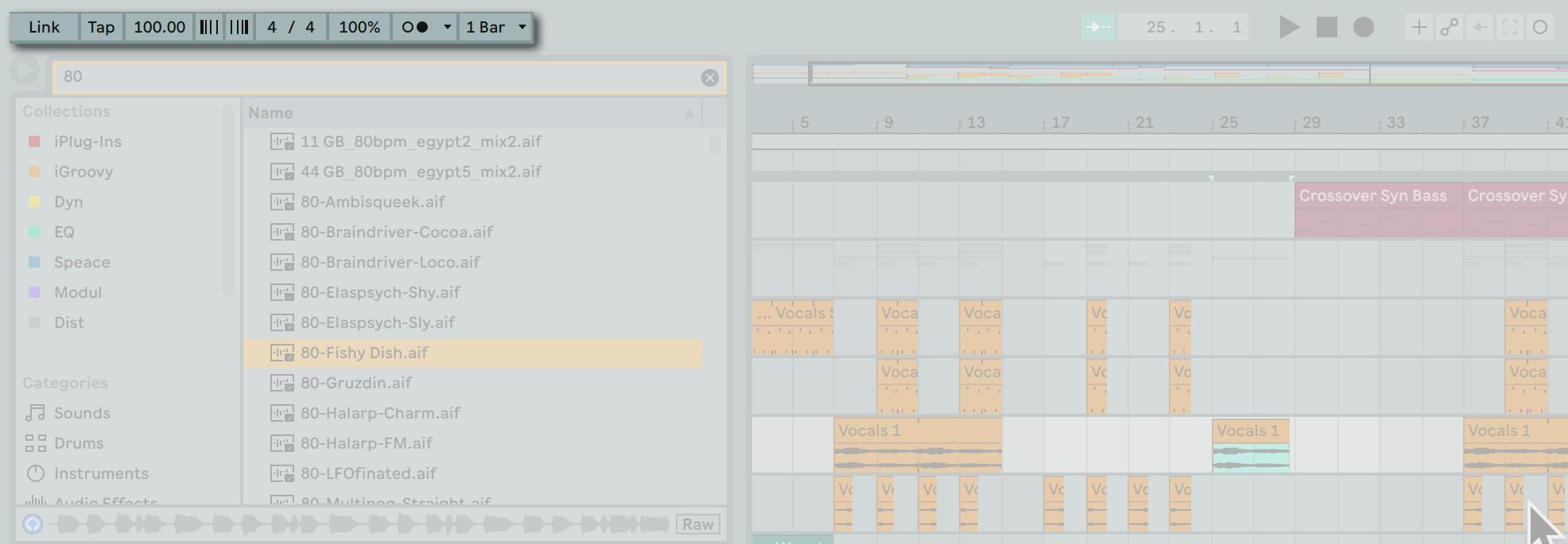 位於 Ableton Live 的左上方可以開啟節拍器、設定拍號以及 BPM 等輸送帶相關設定。