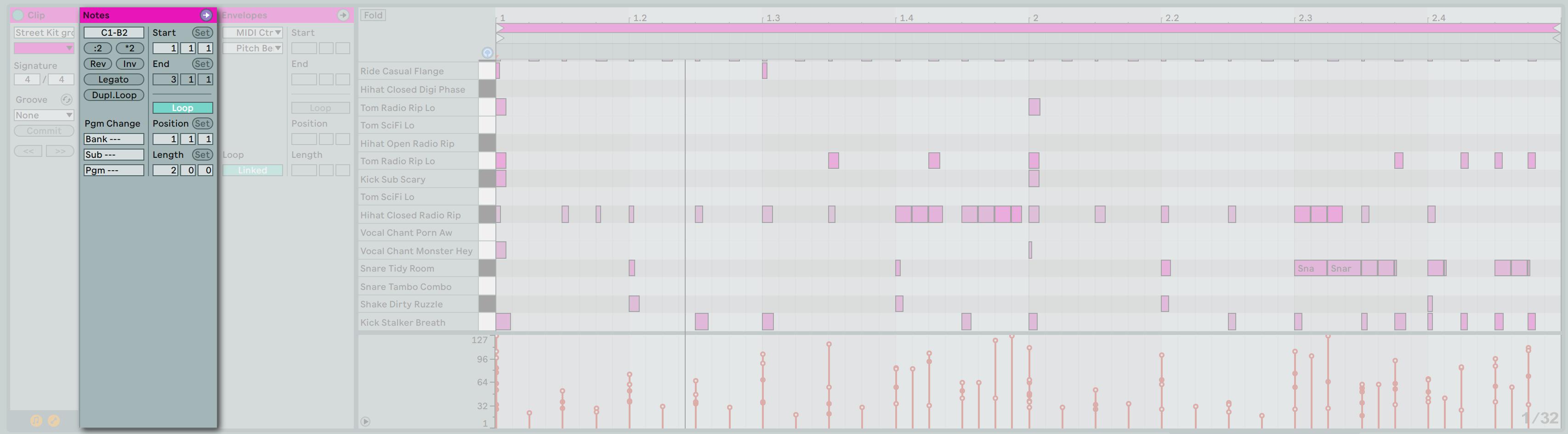 同樣在 Clip View 中也可以針對 MIDI Note 的內容進行各式各樣的 Note Option 設定。