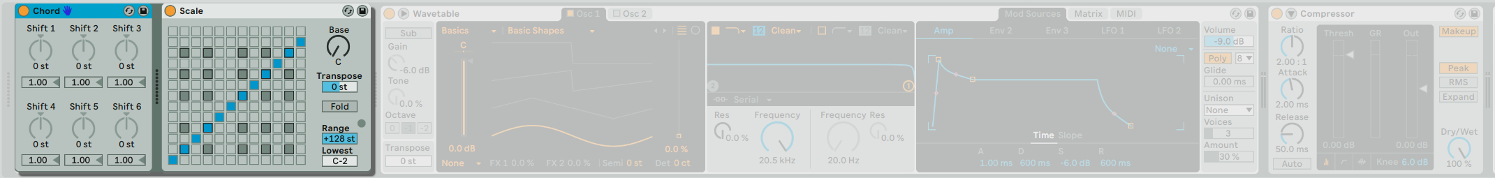 在 Ableton Live 中所有的 MIDI Device 需放在 Device View 的最左方,這是因為 MIDI Device 必須放在 Instrument Device 的前面。
