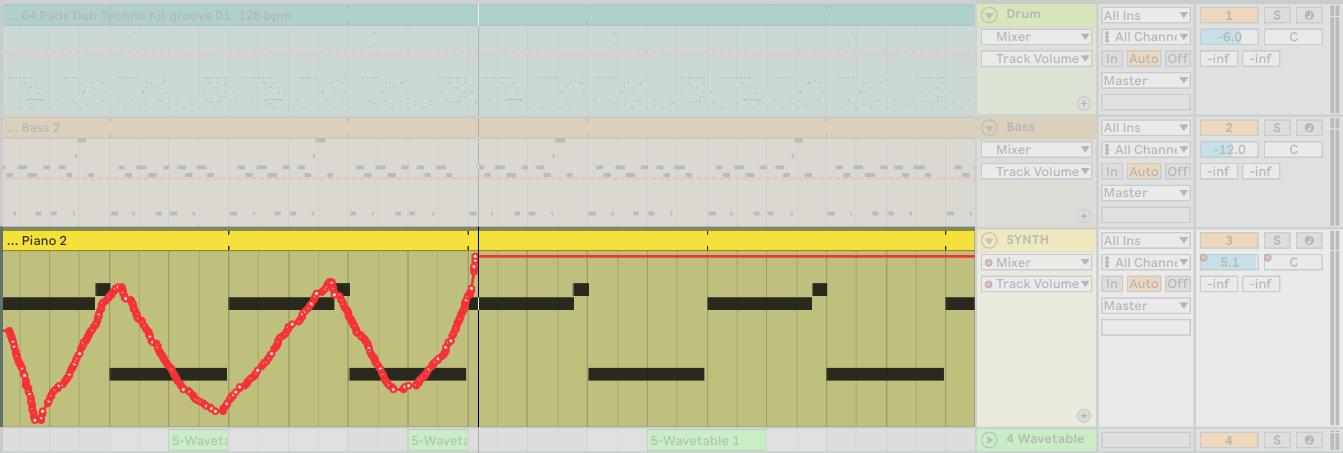 在 Arrangement View 中的每一個 Track 都可以寫入 Automation 的各式參數。