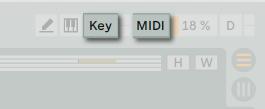 在 Ableton Live 中右上方的 Key 以及 MIDI Maping 按鈕可供用戶快速的指定控制器與軟體參數之間的對應。