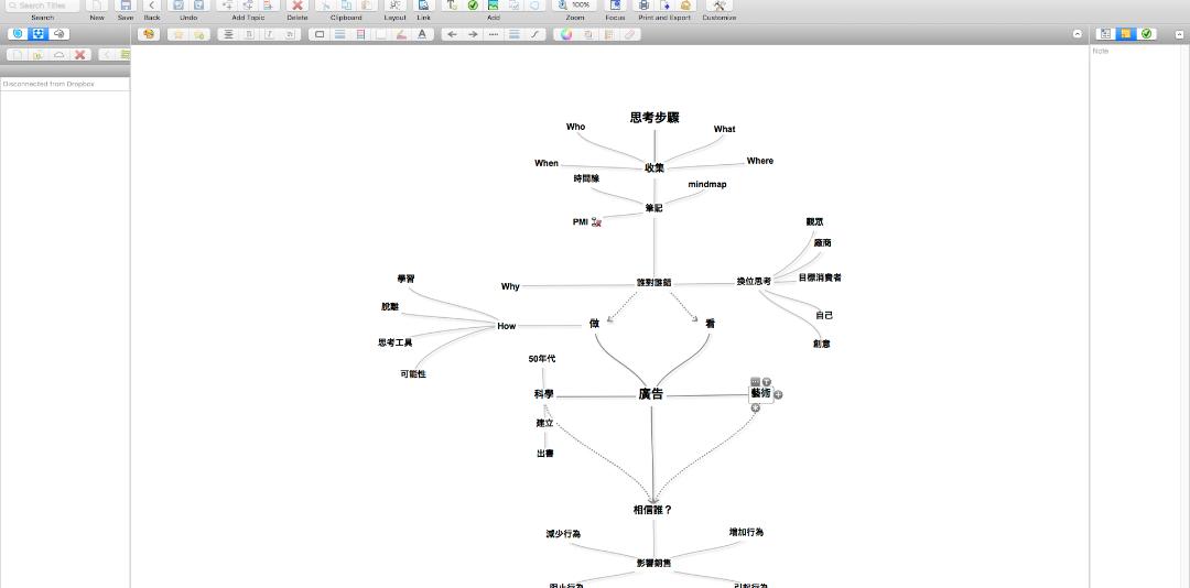除了 iThoughtsX 以外,SimlpeMind 算是用的最久的 MindMap 軟體了!其最大特色是 Map 彼此之間可以建立超連結、但如果該 Map 檔案被移除或遺失的話... 連接也會跟著出現錯誤,(當初也是因為檔案忘記備份遺失後才發現 iThoughtsX 的)