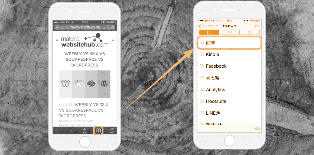一旦同步好以後,你就可以直接點擊手機 Safari 下方的 [書籤]圖示來進行網頁翻譯的動作!